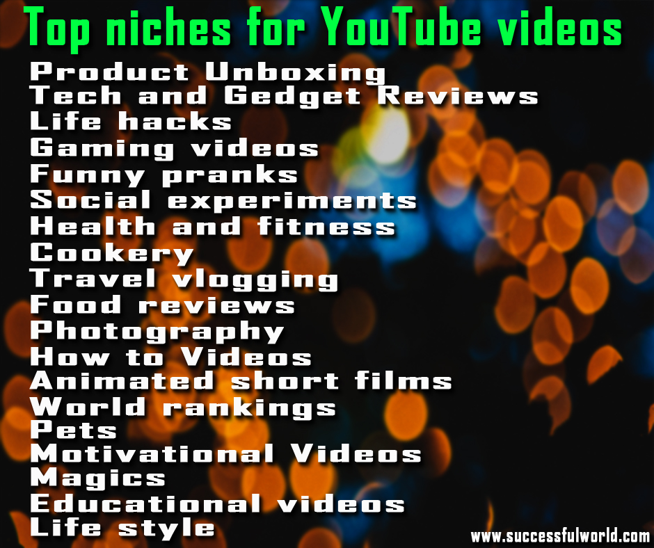 top niches for YouTube